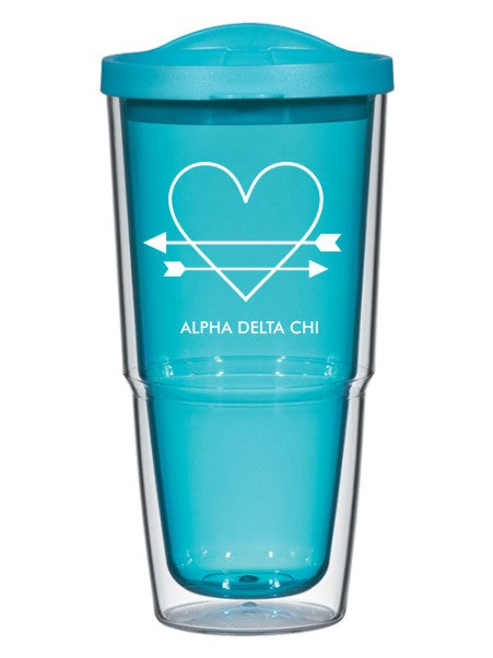 Alpha Delta Chi Heart Arrows Name 24oz Tumbler with Lid