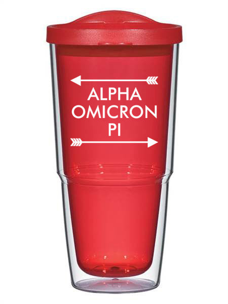 Alpha Omicron Pi Arrow Top Bottom 24oz Tumbler with Lid