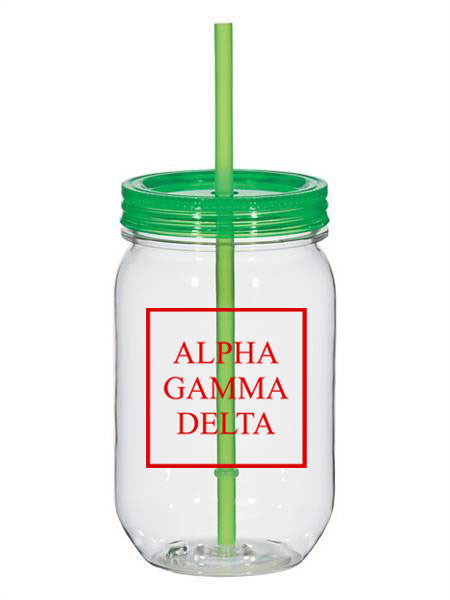 Alpha Gamma Delta Box Stacked 25oz Mason Jar