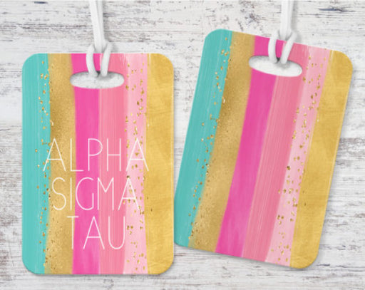 Alpha Sigma Tau Bright Stripes Luggage Tag