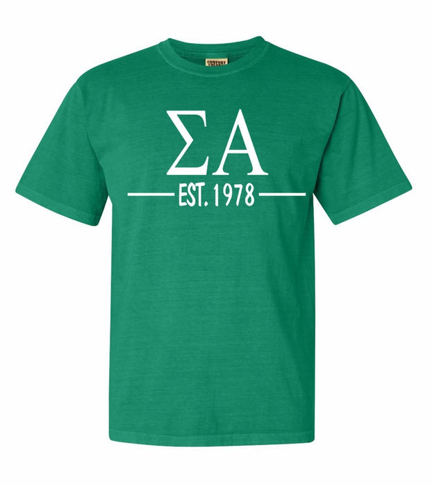 Sigma Alpha Comfort Colors Established Sorority T-Shirt