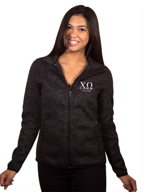 Chi Omega Embroidered Ladies Sweater Fleece Jacket with Custom Text