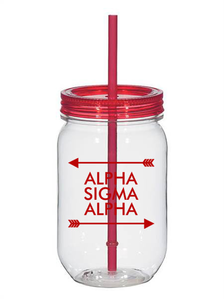 Alpha Sigma Alpha Arrow Top Bottom 25oz Mason Jar