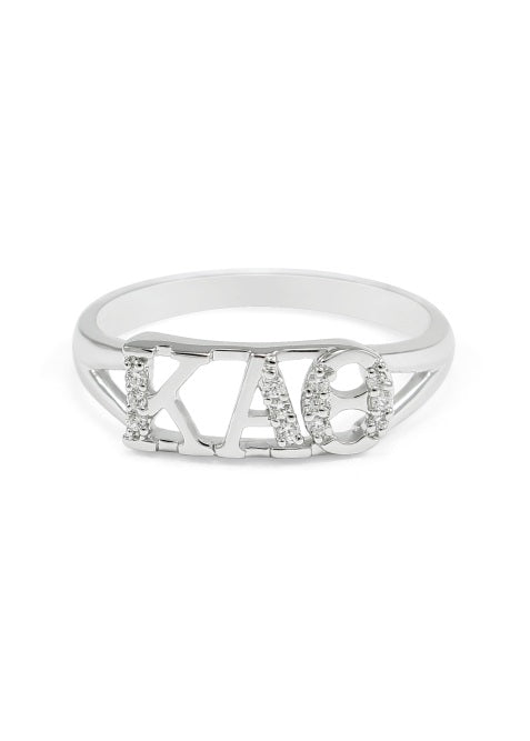 Kappa Alpha Theta Sterling Silver Ring with Lab Created Clear Diamond