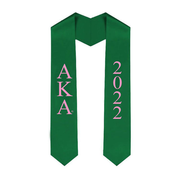 Alpha Kappa Alpha Vertical Grad Stole with Letters & Year