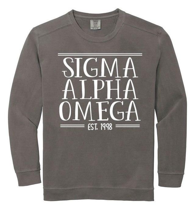 Sigma Alpha Omega Comfort Colors Custom Sorority Sweatshirt