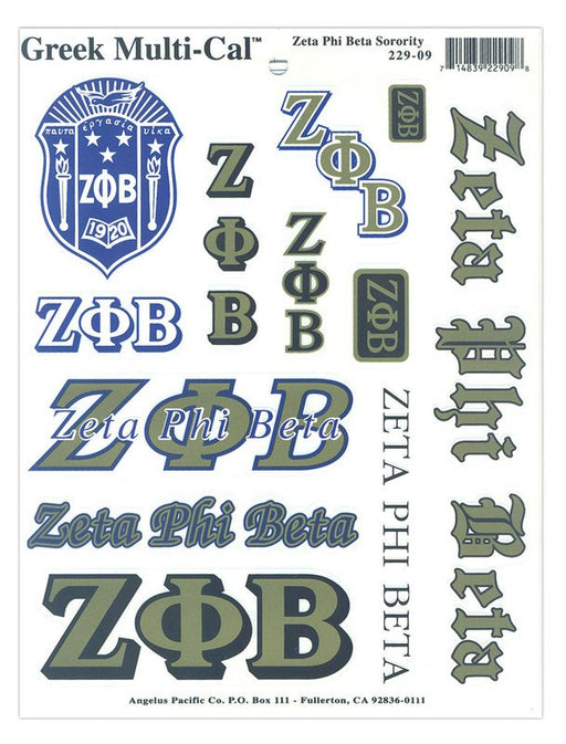 Zeta Phi Beta Multi Greek Decal Sticker Sheet