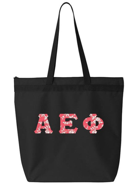 Alpha Epsilon Phi Large Zippered Tote Bag with Sewn-On Letters