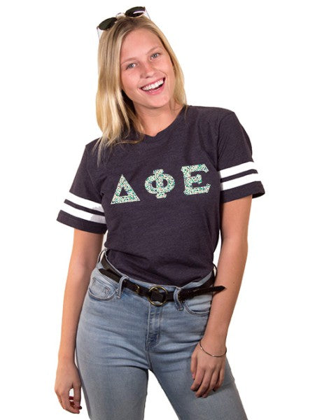 Delta Phi Epsilon Unisex Jersey Football Tee with Sewn-On Letters