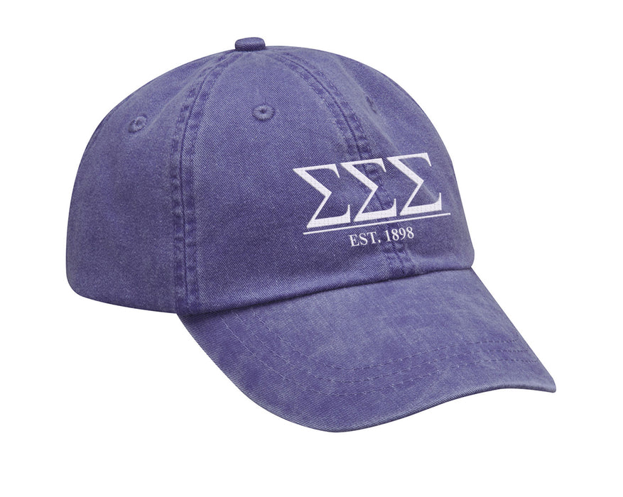 Sigma Sigma Sigma Letters Year Embroidered Hat