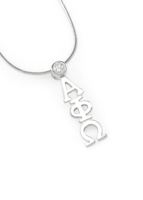 Alpha Phi Omega Sterling Silver Lavaliere Pendant with Clear Swarovski Crystal