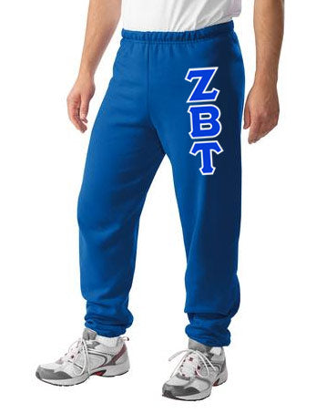 Zeta Beta Tau Sweatpants with Sewn-On Letters