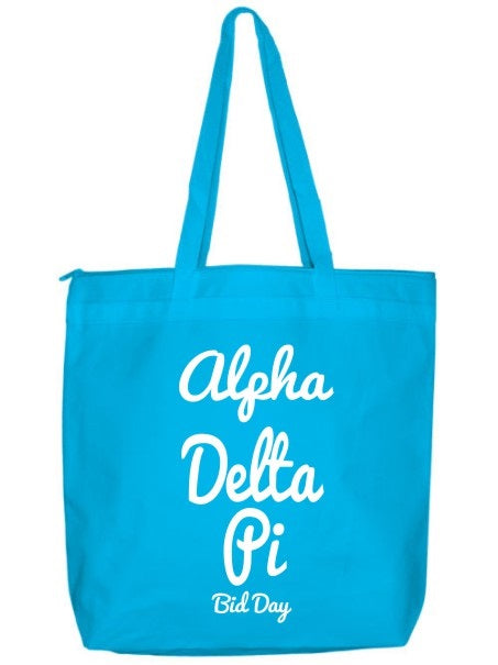 Alpha Delta Pi Zippered Poly Tote