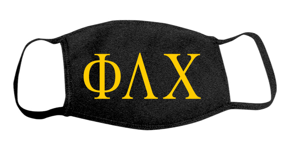 Phi Lambda Chi Face Mask With Big Greek Letters