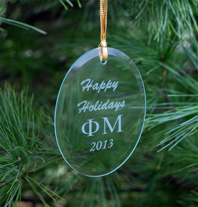 Phi Mu Engraved Glass Ornament