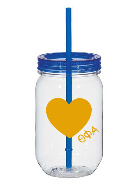 Theta Phi Alpha 25oz Scribbled Heart Mason Jar