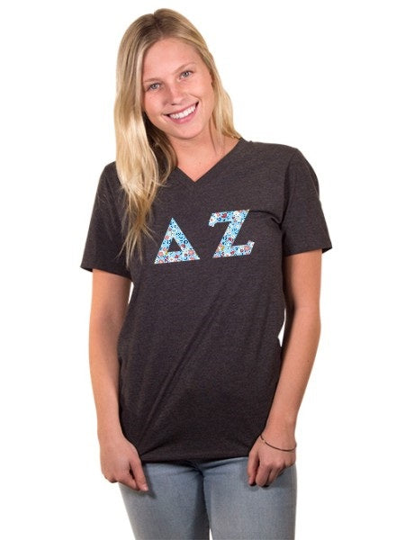 Delta Zeta Unisex V-Neck T-Shirt with Sewn-On Letters