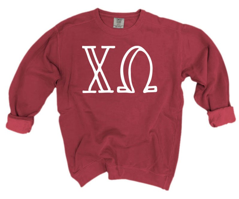 Chi Omega Comfort Colors Greek Letter Sorority Crewneck Sweatshirt
