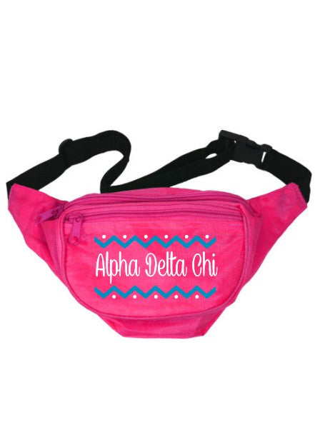 Alpha Delta Chi Dotted Chevron Fanny Pack