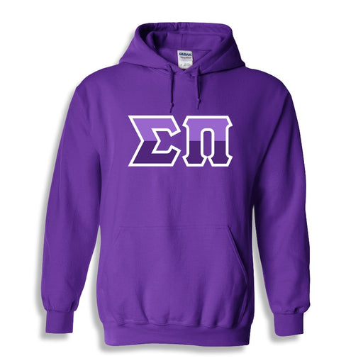 Sigma Pi Two Toned Lettered Hooded Sweatshirt