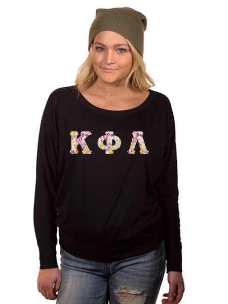 Kappa Phi Lambda Off the Shoulder Flowy Long Sleeve Shirt with Letters