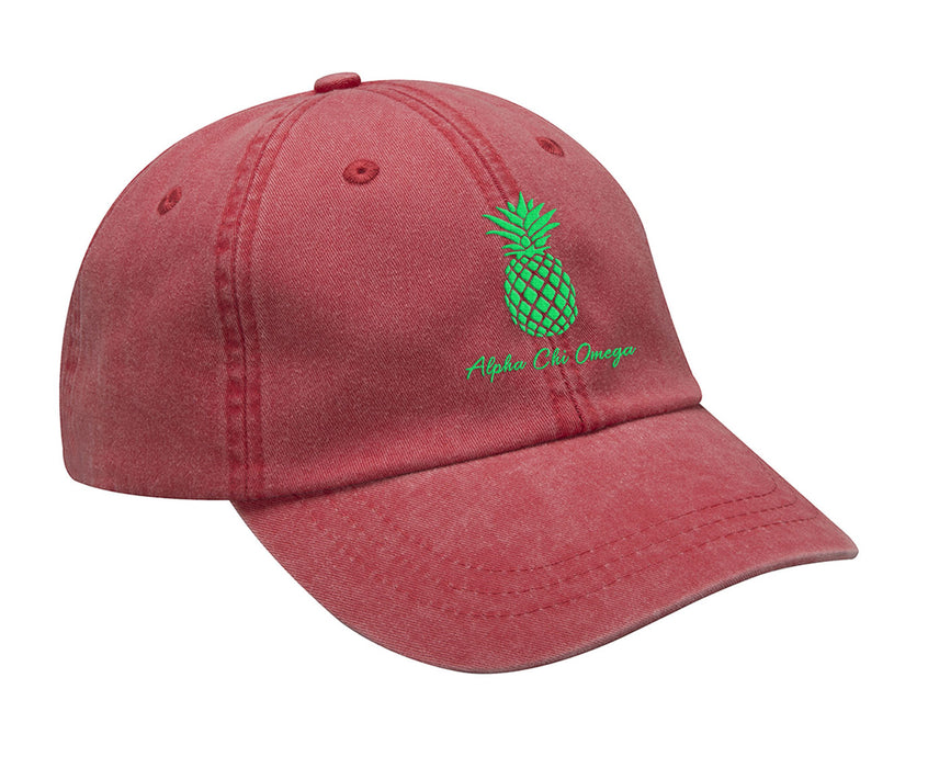Alpha Chi Omega Pineapple Embroidered Hat