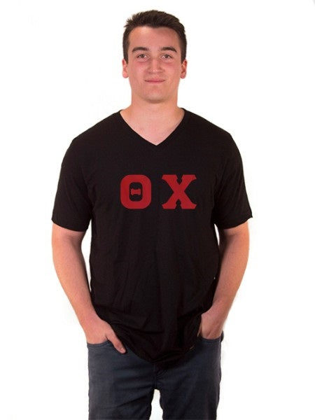 Theta Chi V-Neck T-Shirt with Sewn-On Letters