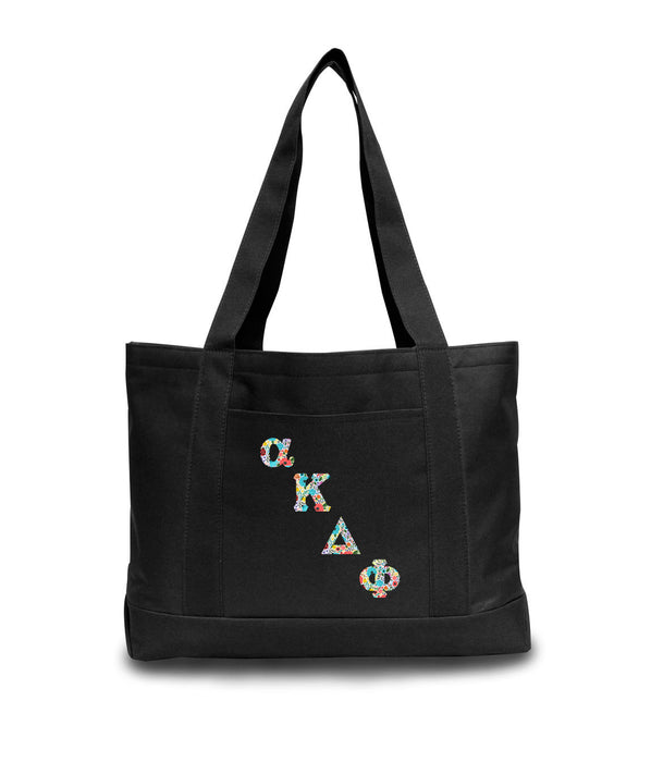 Alpha Kappa Delta Phi 2-Tone Boat Tote with Sewn-On Letters