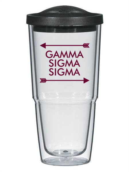 Gamma Sigma Sigma Arrow Top Bottom 24oz Tumbler with Lid