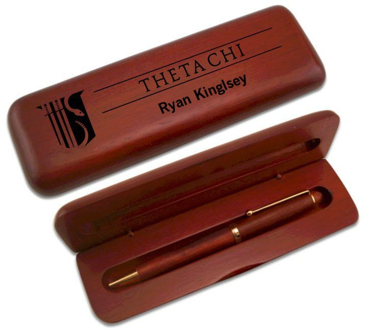 Theta Chi Wooden Pen Case & Pen