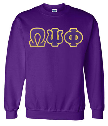 Omega Psi Phi Classic Colors Sewn-On Letter Crewneck