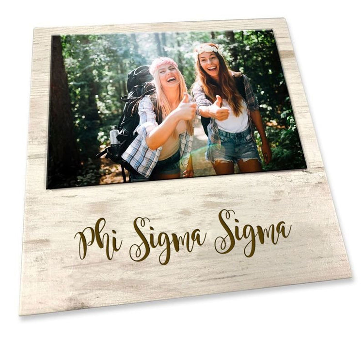 Phi Sigma Sigma Script Wood Picture Frame