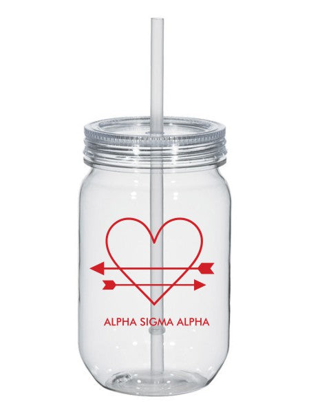 Alpha Sigma Alpha Heart Arrows Name 25oz Mason Jar