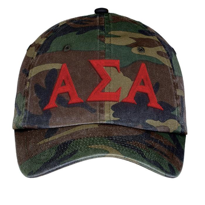 Alpha Sigma Alpha Letters Embroidered Camouflage Hat