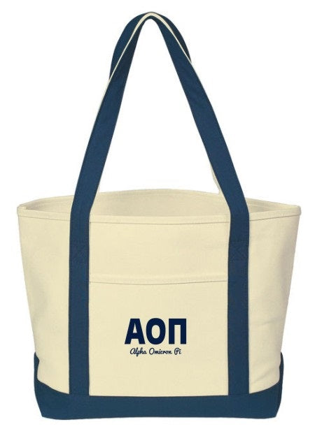 Alpha Omicron Pi Layered Letters Boat Tote