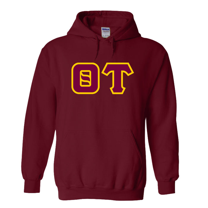 Theta Tau Sewn Lettered Hooded Sweatshirts Lettered Hoodie