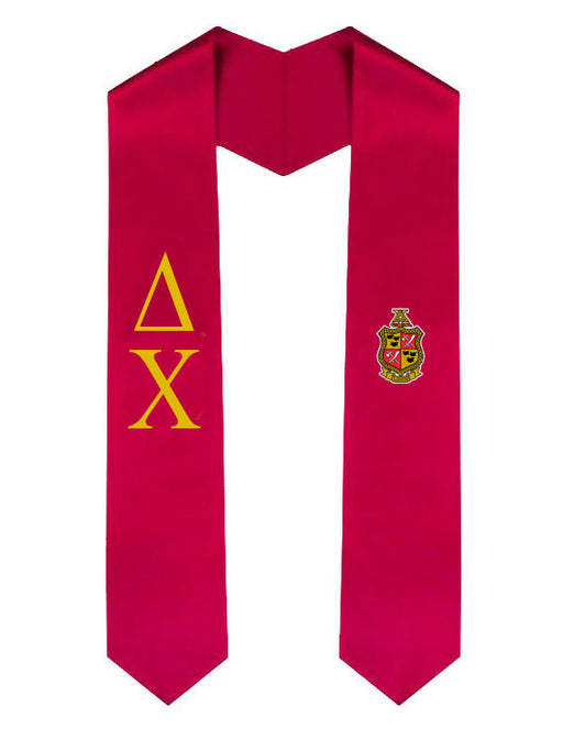 Delta Chi Lettered Graduation Sash Stole with Crest