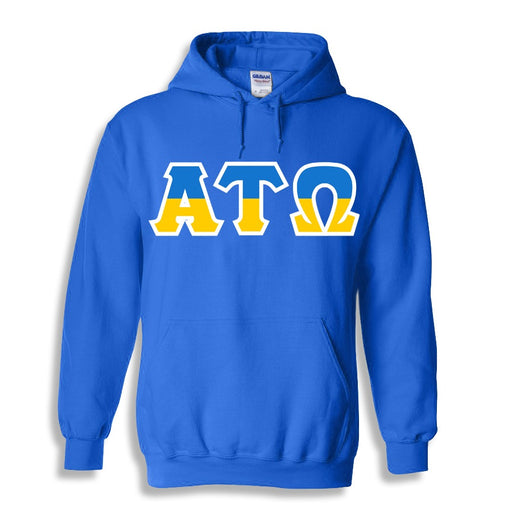 Alpha Tau Omega Two Toned Lettered Hooded Sweatshirt