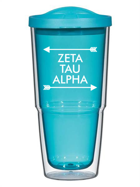 Zeta Tau Alpha Arrow Top Bottom 24oz Tumbler with Lid