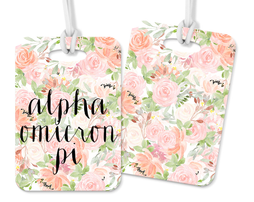 Alpha Omicron Pi Pink Floral Luggage Tag
