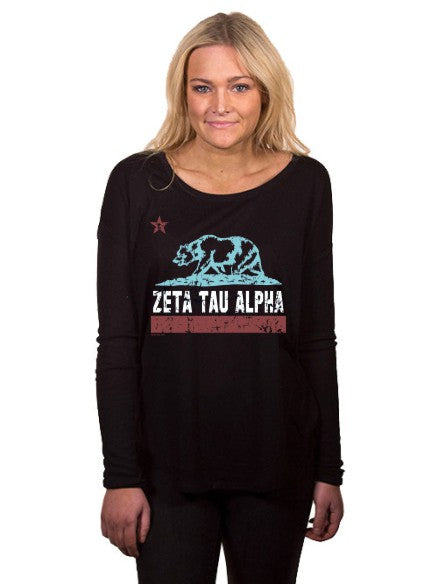 Zeta Tau Alpha Cali Bear Flowy Long Sleeve Tee