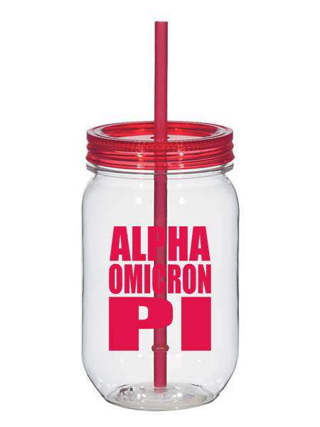 Alpha Omicron Pi Big Stacked Greek 25oz Mason Jar