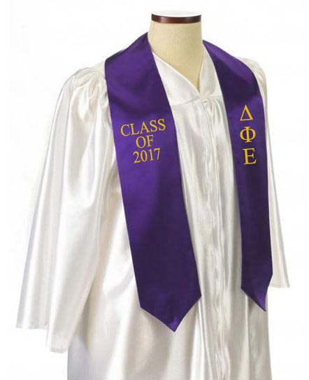 Delta Phi Epsilon Classic Colors Embroidered Grad Stole