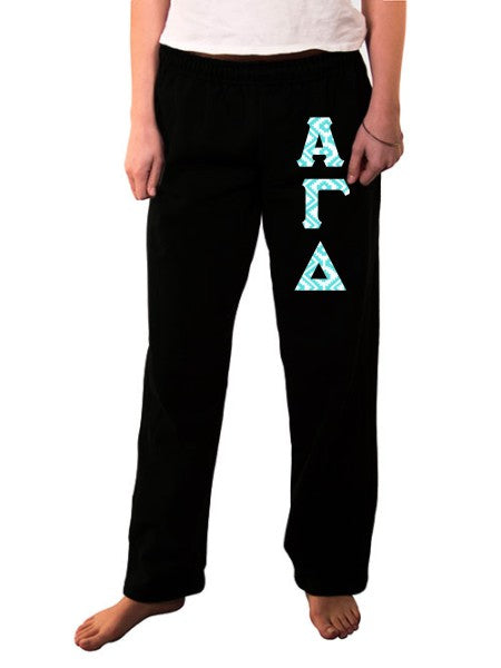Alpha Gamma Delta Open Bottom Sweatpants with Sewn-On Letters