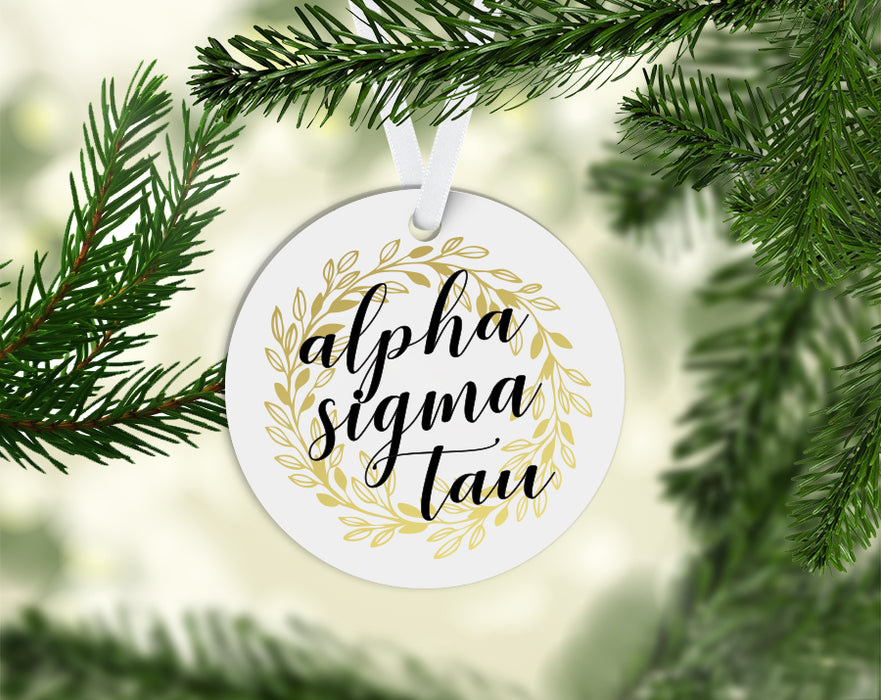 Alpha Sigma Tau Round Acrylic Gold Wreath Ornament