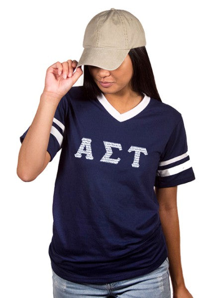Alpha Sigma Tau Striped Sleeve Jersey Shirt with Sewn-On Letters