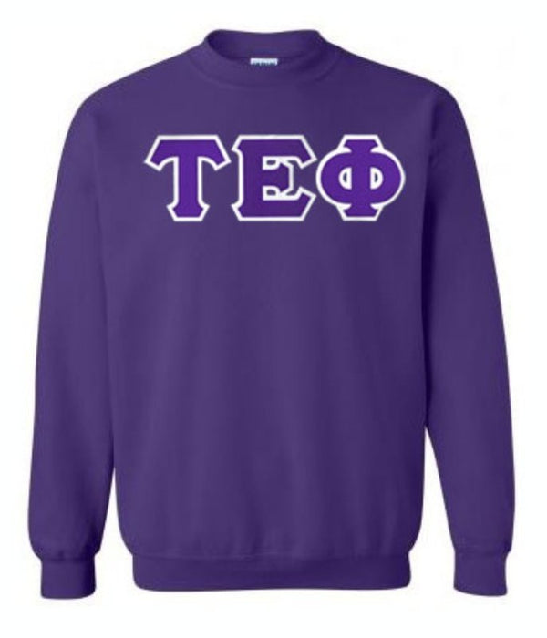 Tau Epsilon Phi Crewneck Sweatshirt with Sewn-On Letters