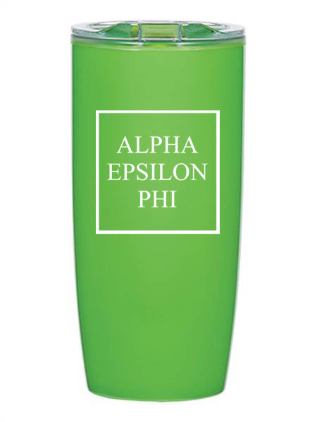 Alpha Epsilon Phi Box Stacked 19 oz Everest Tumbler