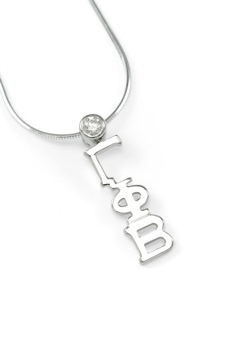 Gamma Phi Beta Sterling Silver Lavaliere Pendant with Clear Swarovski Crystal