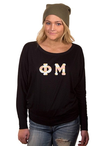 Phi Mu Off the Shoulder Flowy Long Sleeve Shirt with Letters